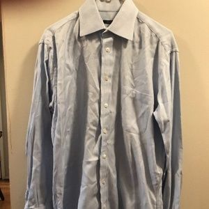 Burberry London Blue Herringbone Longsleeve Oxford